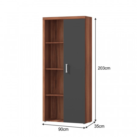 CHERIS 2 - Polcos szekrény könyvespolccal, szilva/szürke grafit