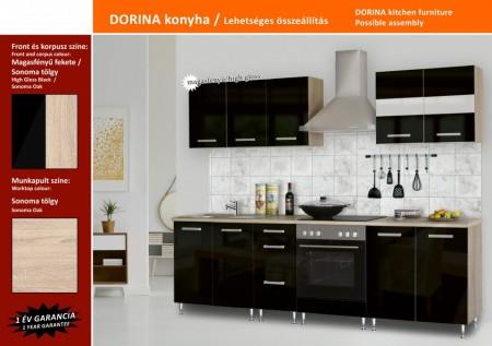 Dorina konyhablokk MDF fronttal, Magasfényű fekete, 200cm