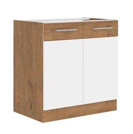 Mosogató szekrény, fehér magasfényű HG/ lancelot tölgy, VEGA 80 ZL 2F BB