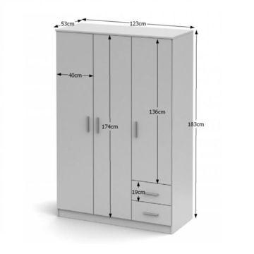 NOKO-SINGA 84 3 ajtós szekrény fehér színben