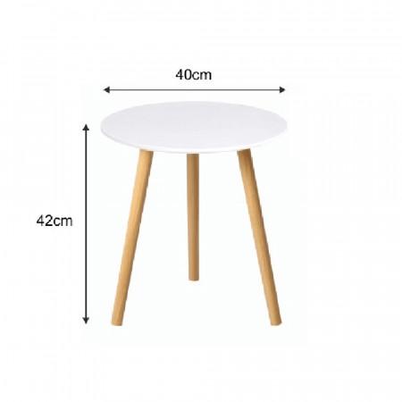 PAMINO - Kisasztal, fehér/természetes