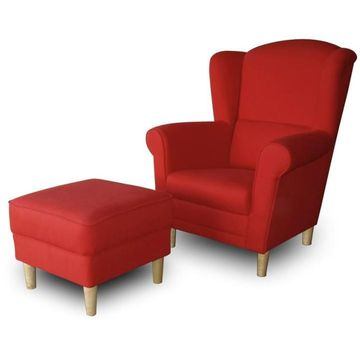 ASTRID fotel és puff piros színben