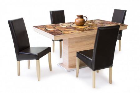 Berta étkező Flóra plusz asztal + 4db Berta szék