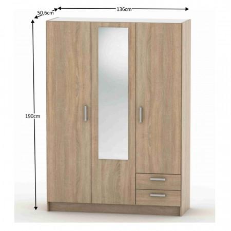 BETTY 7 BE07-001-00 - 3-ajtós szekrény, tölgy sonoma