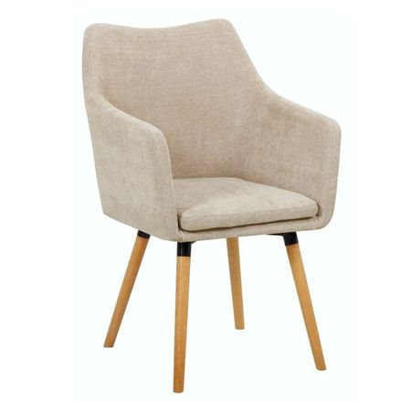 DABIR Étkező fotel, bézs anyag/bükk