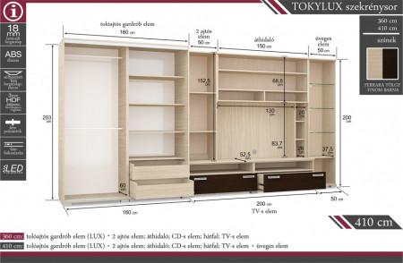 Tokylux szekrénysor - Méretek