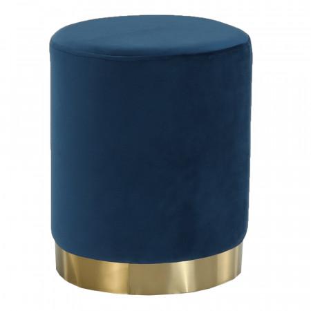 ALAZ - Puff, kék Velvet anyag/gold króm-arany