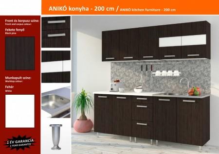 Anikó konyhablokk bútorlap fronttal, Fekete fenyő 200cm