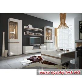LYNATET 67 faliszekrény extra magasfényű fehér - trufla sonoma tölgy színben