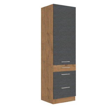 Magas szekrény, tölgy lancelot/szürke matt, VEGA 60 DKS-210 3S 1F