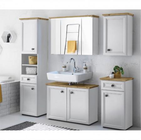 TOSKANA - Magas szekrény, fehér/artisan tölgy