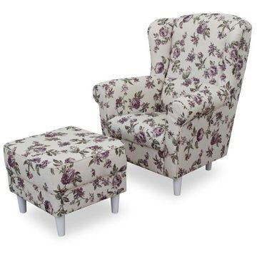 ASTRID fotel és puff 2-es virágmintás szövettel