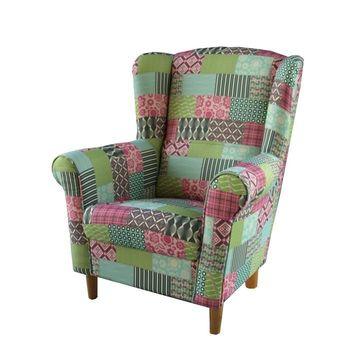 CHARLOT fotel sokszínű mintás szövettel