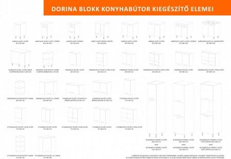 Dorina konyhablokk MDF fronttal, Magasfényű piros fekete, 200cm