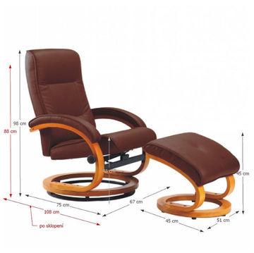 RYAN állítható pihenő fotel sötétbarna színben