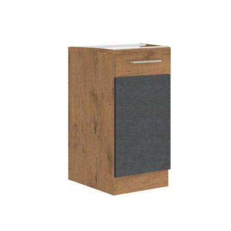 Alsószekrény, szürke matt/tölgy lancelot, VEGA 40 D 1F BB