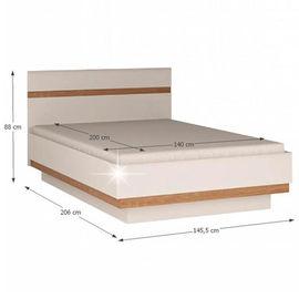 LYNATET 91 ágy extra magas fényű fehér - sonoma tölgy színben
