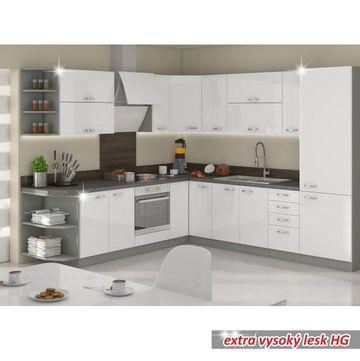 PRADO 80 ZL 2F BB alsó mosogató szekrény extra magas fényű fehér színben