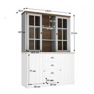 PROVANCE vitrines szekrény andersen erdei fenyő - lefkas tölgy színben