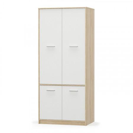 TEYO - 4- ajtós akasztós szekrény, fehér/tölgy sonoma