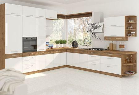 Alsó szekrény, fehér magasfényű HG/ lancelot tölgy, VEGA D80 3S BB