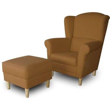 ASTRID fotel és puff barna színben