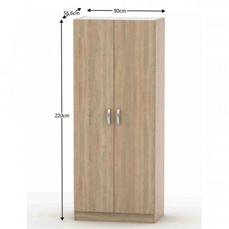 BETTY 2 BE02-003-00 - 2-ajtós szekrény, akasztós, polcos, tölgyfa sonoma