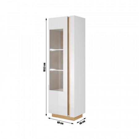 CITY - Magas vitrines szekrény 60, fehér/tölgy grandson/magasfényű fehér