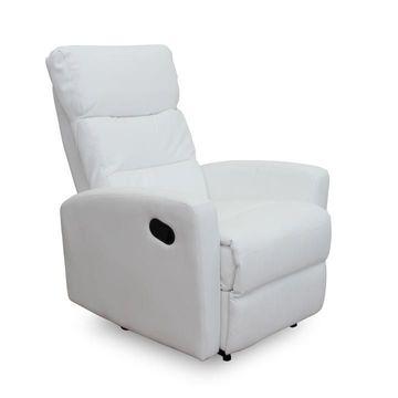 SILAS pihenő fotel fehér textilbőrrel