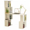 FLOKI NEW - PC asztal könyvespolccal, fehér
