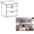 LAYLA D80S3 - Alsó szekrény fiókokkal, szürke matt/fehér