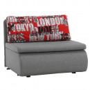 KENY NEW - Széthúzható fotel, szürke / minta