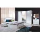 ASIENA - Hálószoba garnitúra, Szekrény+Ágy 160x200+2x éjjeliszekrény), fehér/magasfényű fehér HG