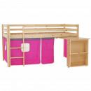 ALZENA - Ágy PC asztallal, fenyő fa/rózsaszín, 90x200