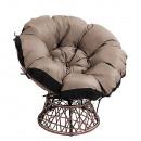 Forgó fotel párnával, barna/fekete/bézs, TRISS BIG