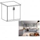 LAYLA D80 - Kétajtós alsó szekrény, szürke matt/fehér