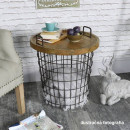 NANDO - Kisasztal, természetes minta/fekete