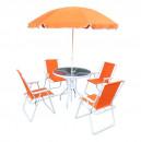 ODELO - Kerti bútor szett, narancssárga/fehér