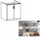 LAYLA D80Z - Mosogató szekrény, szürke matt/fehér