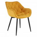 Velvet anyag, FEDRIS - Dizájnos fotel, sárg