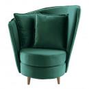 Fotel Art Deco stílusban, smaragd Kronos szövet/tölgy, ROUND NEW