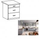 LAYLA D60S3 - Alsó szekrény fiókokkal, szürke matt/fehér