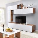 MIRALDA - Nappali fal, fehér extra magas fényel/tölgyfa wotan