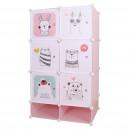 Moduláris szekrény gyerekeknek, rózsaszín/gyerek minta, NORME