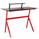 Számítógépasztal/gamer asztal, piros/fekete, LATIF