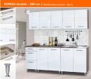 Dorina konyhablokk MDF fronttal, Magasfényű fehér, 200cm