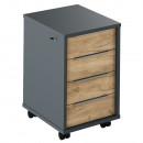 RIOMA NEW TYP 30 - Irodai konténer zárral, grafit/tölgyfa artisan
