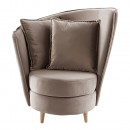Fotel Art Deco stílusban, taupe barnásszürke Paros szövet/tölgy, ROUND NEW