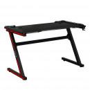 Gamer asztal/számítógépasztal, RGB LED világítással, fekete/piros, MACKENZIE 120cm