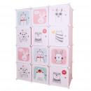Gyerek moduláris szekrény, rózsaszín/gyerek minta, NURMI
